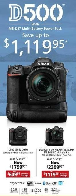 Nikon Black Friday: Nikon D500 AF-S DX Nikkor 16-80mm f/2.8-4E ED VR Lens Kit w/ Battery Pack for $2,399.99