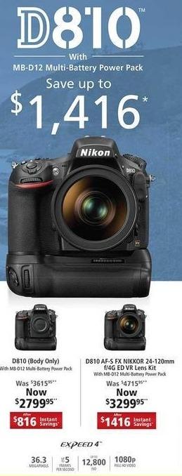 Nikon Black Friday: Nikon D810 AF-S FX Nikkor 24-120mm w/4G ED VR DSLR Lens Kit w/Battery Pack for $3,299.95
