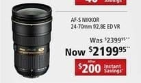 Nikon Black Friday: AF-S Nikkor 24-70mm f/2.8E ED VR Camera Lens for $2,199.95