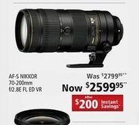 Nikon Black Friday: AF-S Nikkor 70-200mm f/2.8E FL ED VR Camera Lens for $2,599.95