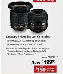 Nikon Black Friday: Nikon Landscape & Macro Two Lens Kit w/ AF-P DX Nikkor 10-20mm f/4.5-5.6G VR and AF-5 DX Micro Nikkor 40mm f/2.8 G Lenses for $499.95