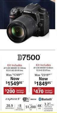 Nikon Black Friday: Nikon D7500 Kit w/Choice of AF-5 DK Nikkor ED VR Lens for $1,549.95 - $1,849.95
