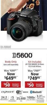 Nikon Black Friday: Nikon D5600 24.2MP Camera Body w/Expeed 4 and Wifi for $649.95