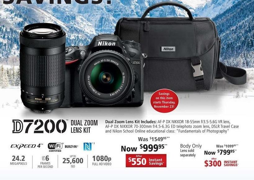 Nikon Black Friday: Nikon 24.2MP D7200 Dual Zoom Lens Kit w/Expeed 4 and Wifi for $999.95