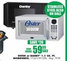 Blains Farm Fleet Black Friday: 1.1 cu. ft. Microwave from Oster or Danby for $59.99