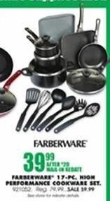 Blains Farm Fleet Black Friday: Farberware 17-Piece Performance Cookware Set for $39.99 after $20 rebate