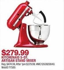 Macy S Black Friday Kitchenaid Artisan 5 Qt Stand Mixer