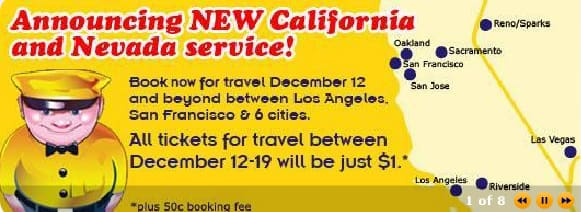Megabus Service LA to SF, OAK, SJ, Reno, Riverside, LV $1 each way