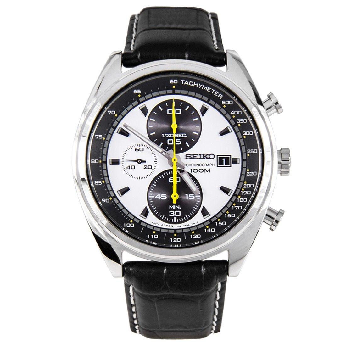 Seiko Men's SNDF93 Chronograph Quartz Two Tone Dial Black Leather Band Watch 69.99FS