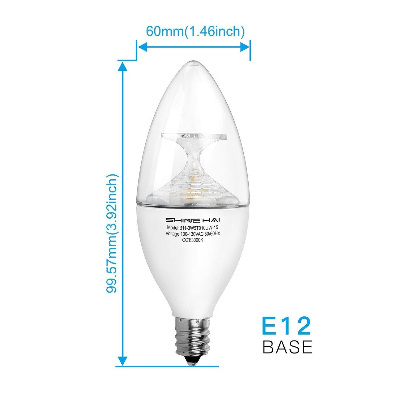 40W equivalent E12 Candelabra Base LED bulbs (12 for 12.99) $12.99