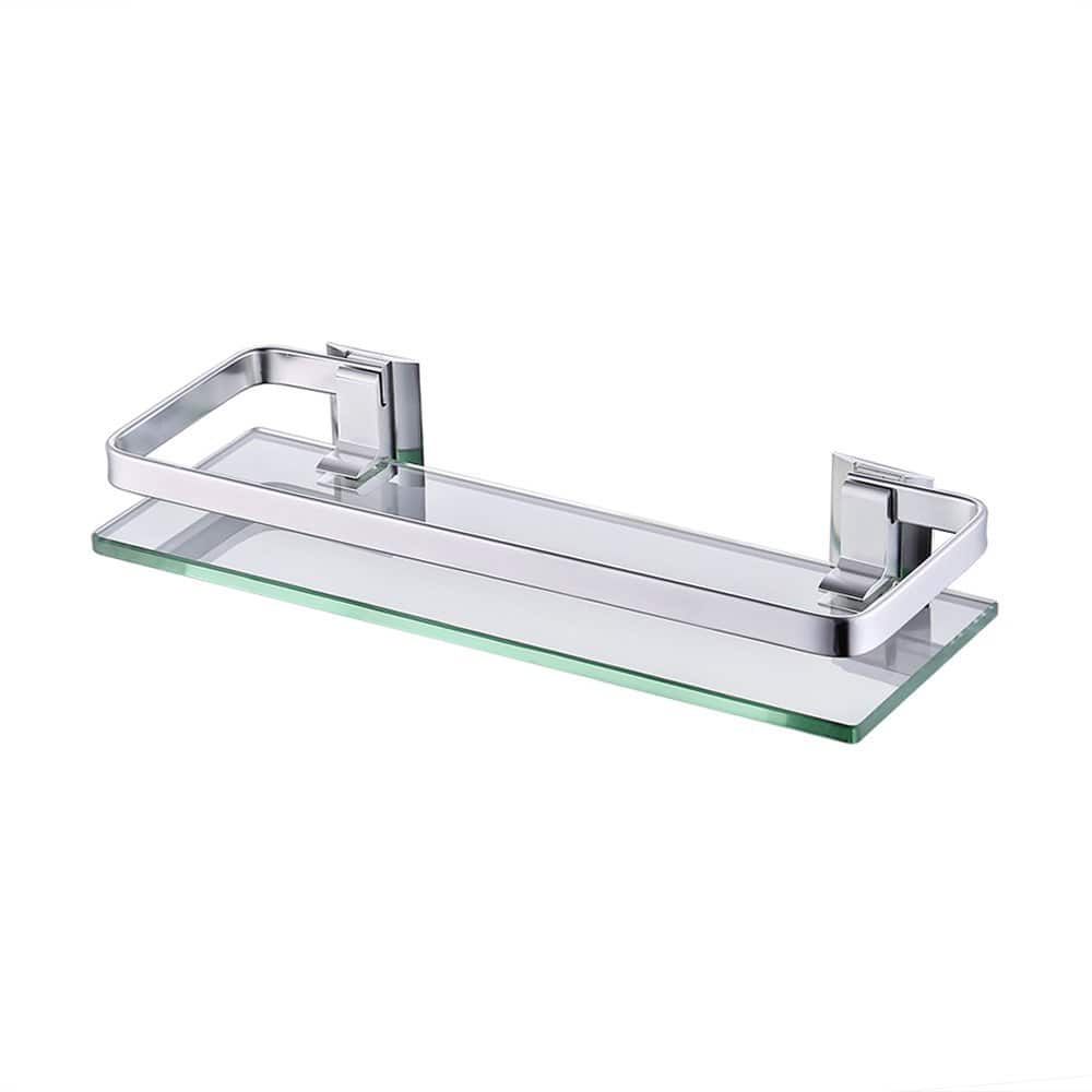 KES Aluminum Bathroom Glass Rectangular Shelf Wall Mounted Tempered Glass Extra Thick, Silver Sand Sprayed, A4126A: Home Improvement [1-Tier] $12.3