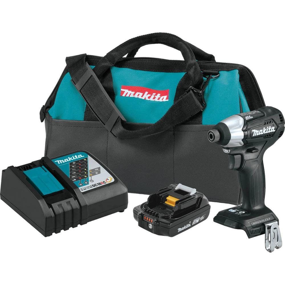 Makita 18-Volt LXT Lithium-Ion Sub-Compact Brushless Cordless Impact Driver Kit with (1) Battery 2.0Ah, Charger, and a Bag-XDT15R1B - The Home Depot $83.00
