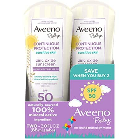 2 Pack 3 Fluid Ounce Aveeno Baby Continuous Protection Zinc Oxide Mineral Sunscreen Lotion With Broad Spectrum SPF 50 $11.18 with S/S Amazon
