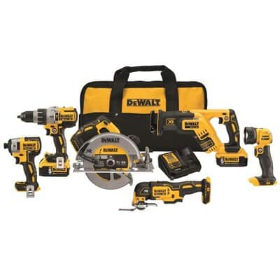DEWALT XR 20-Volt Max 6-Tool Brushless Power Tool Combo Kit with Soft Case (2-Batteries Included and Charger Included) $549