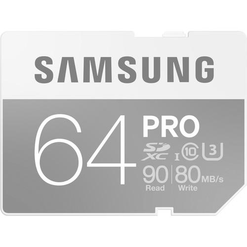 Samsung 64GB PRO UHS-I SDXC U3 Memory Card (Class 10) B&H #SAMBSG64E • MFR #MB-SG64E/AM $19.99 Instant Savings:$20.00