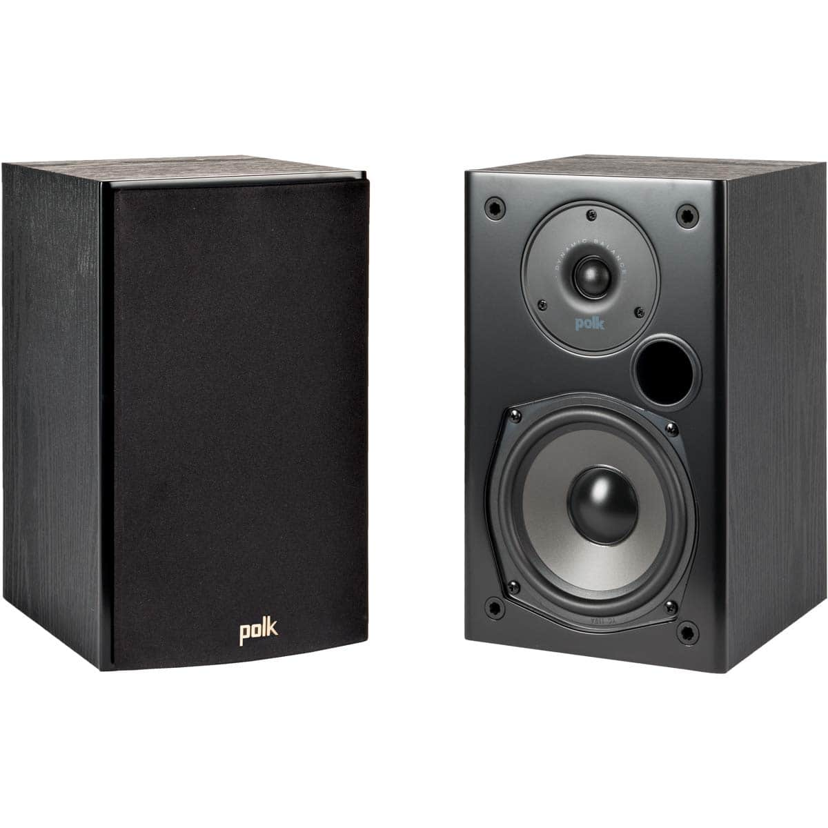 Polk Audio T15 100 Watt Home Theater Bookshelf Speakers – Hi-Res Audio with Deep Bass Response | Dolby and DTS Surround | Wall-Mountable| Pair, Black - $69 at Amazon
