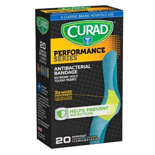 """Amazon has 20 Count of Curad Performance Series Extreme Hold Antibacterial Fabric Bandages (1"""" x 3.25) for $2.97"""