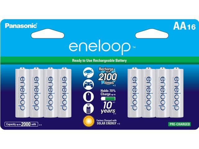 Newegg has 16 Pack of Eneloop AA 2100 Cycle Ni-MH Pre-Charged Rechargeable Batteries for $29.99