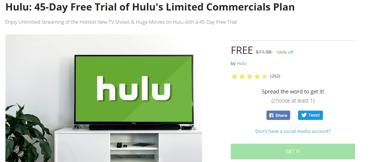 (New Subscribers):45-Day Free Trial of Hulu's Limited Commercials Plan On Stacksocial