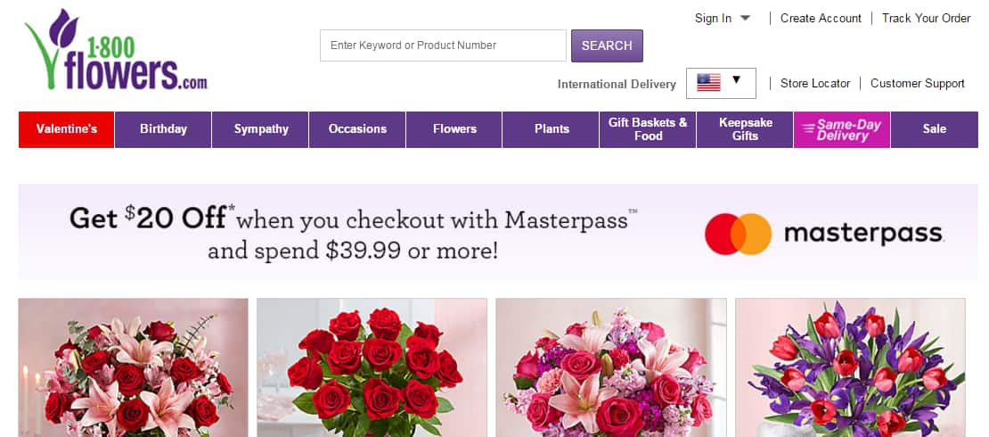 2 MasterPass Promos: Get $20 off your $39.99 purchase at 1800flowers and Save 25% off your order at harry & david. And Other Promotional Offers!