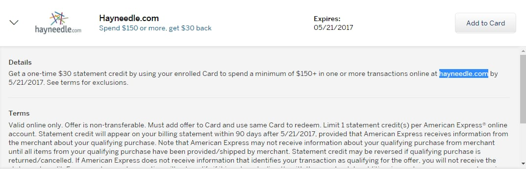 Amex Offer For Hayneedle.com: Spend $150 And Get $30 Back (YMMV)