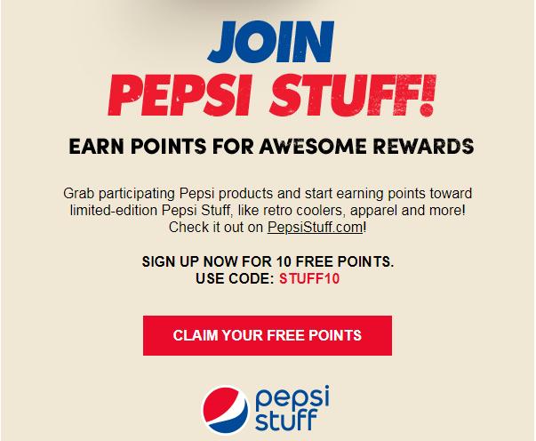 10 Free Points at Pepsi Stuff/Pepsi Rewards