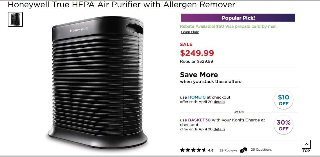 Honeywell True HEPA Air Purifier with Allergen Remover (Model HPA300) for Kohl's Cardholders for $117.99 or $77.99 When Including Kohl's Cash