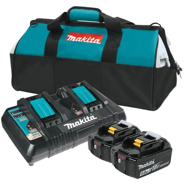 Makita: Two 5.0ah batteries w/charger & amp and 2 free tools $299
