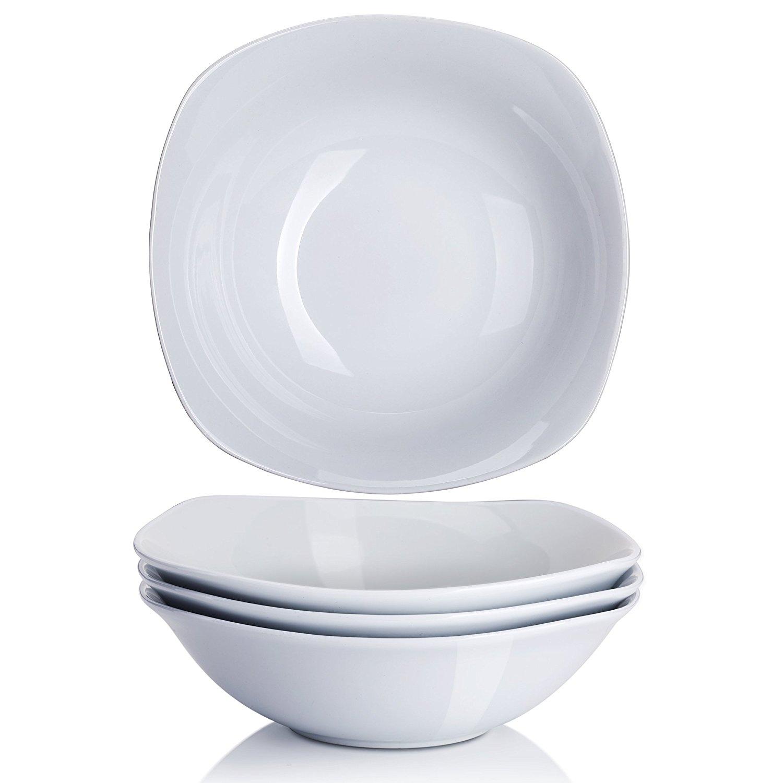 YHY 7-inch/20OZ Porcelain Cereal/Pasta Bowls, White Salad Bowl Set, Square & Wide, Set of 4  $8.99