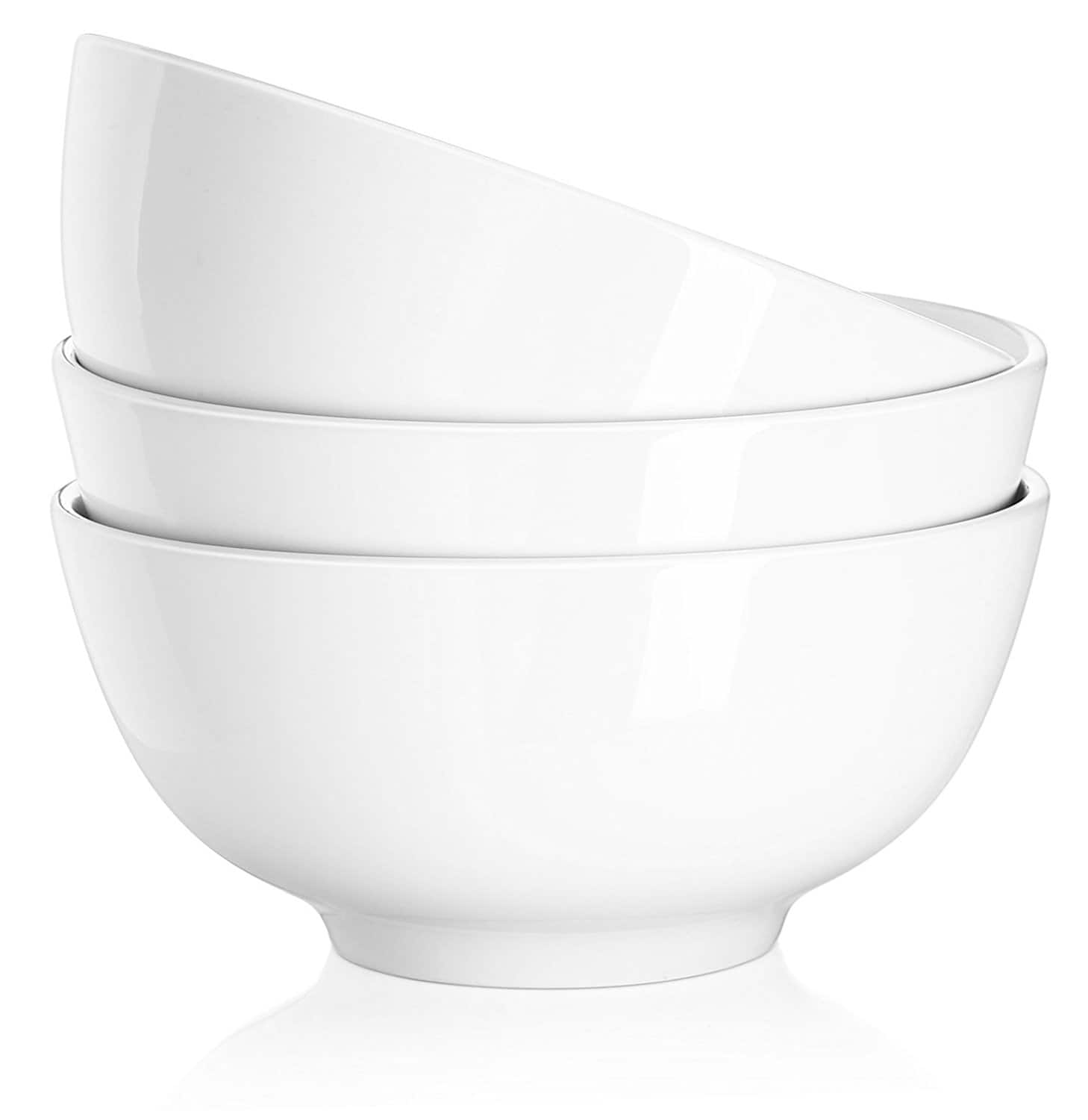 50%OFF on DOWAN 29 Ounce Porcelain Soup Bowls - 3 Packs, Stackable Round, White $11.49