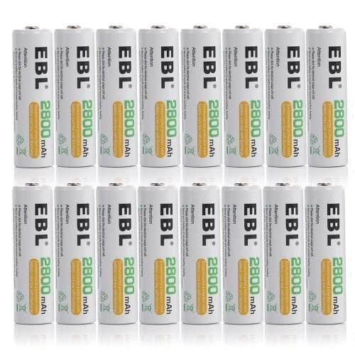EBL 16 Pack AA 2800mAh Rechargeable Batteries with Battery Storage Case [16 Pack AA] $17.99