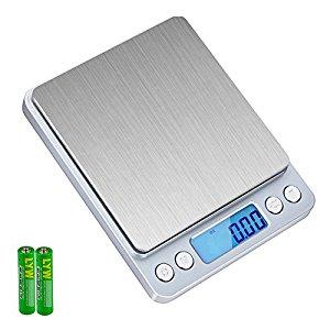 SKYROKU KS-486 Digital Kitchen Food Scale Multifunction Pocket Scale with Backlit Display, 3kg (Silver)-$7.79