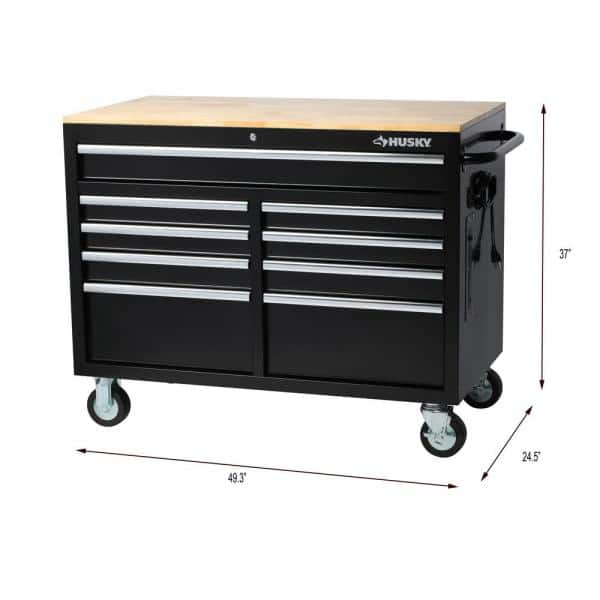 46 in. W 9-Drawer, Deep Tool Chest Mobile Workbench in Gloss Black with Hardwood Top $298