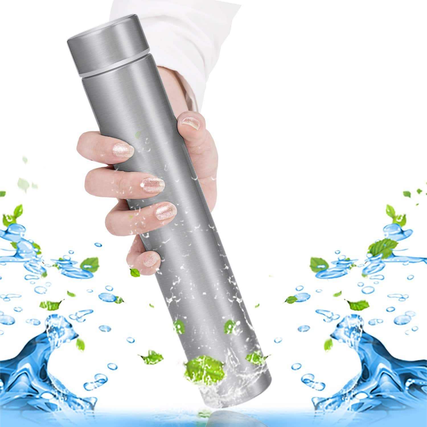 KepooMan 18/8 Stainless Steel Water Bottle Vacuum Insulated Thermos Leak Proof Vacuum Insulated Double-Walled Thermos Flask for Hot and Cold Beverages 250ml(8oz) (Silver) $7.79 AC