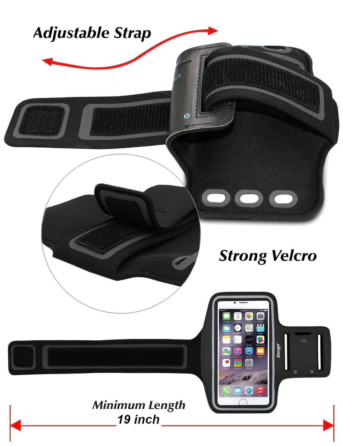 5.5-Inch Water Resistant Cell Phone Armband with Adjustable Velcro & key Holder $3.99AC+FS