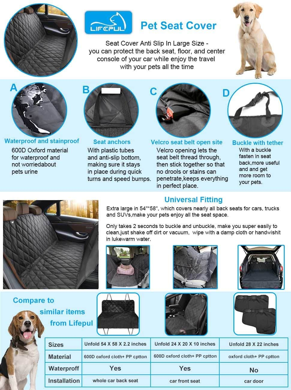 Pet Seat Cover for Cars w/ Anti Slip In Large Size - $16.78 AC FS