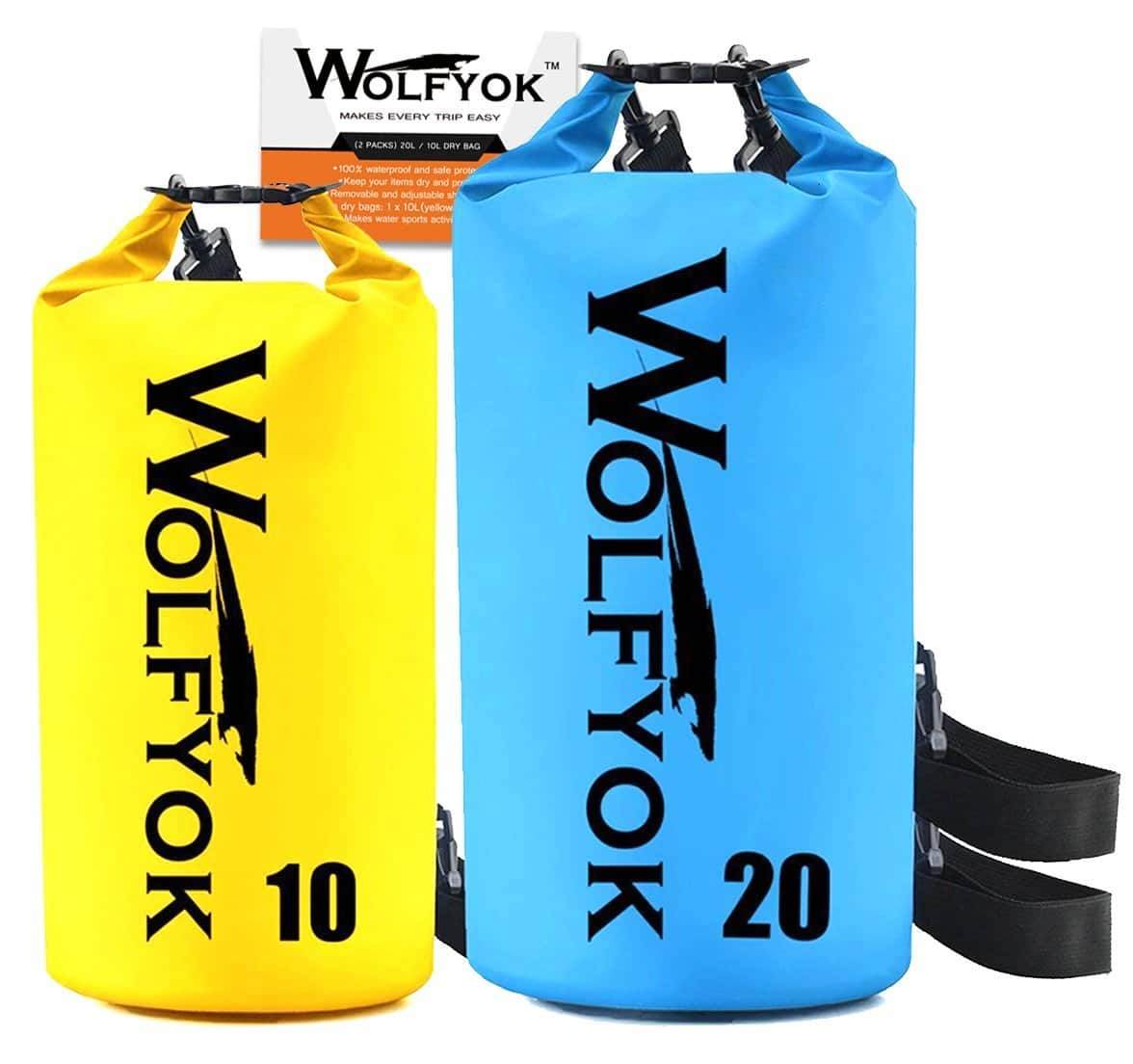 20L / 10L Dry Bag - Wolfyok Roll Top Waterproof Floating Duffle Dry Gear Bag with Adjustable Shoulder Straps [2 pack] - $17.59 AC