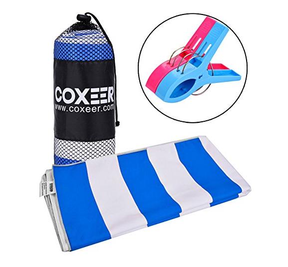 Coxeer Microfiber Striped Pool Beach Towel $6.98 AC $6.94