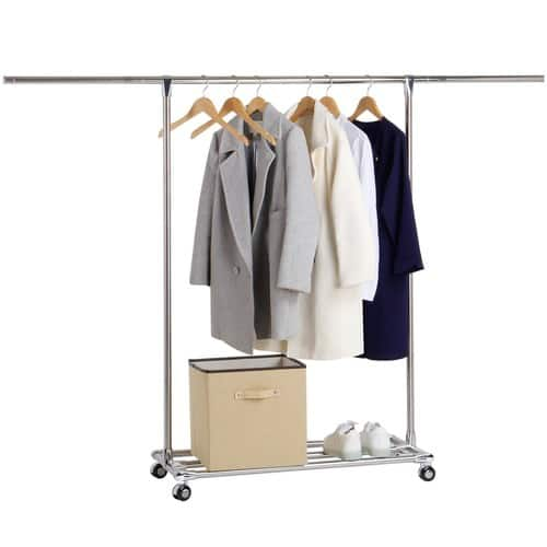 Commercial Grade Clothes Rack Rolling Single Rod Garment Rack with Shelf, Stainless Steel $24.77