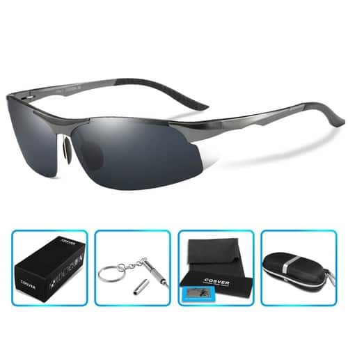 COSVER 8003 Men's Sports Style Polarized Sunglasses for Driving Fishing Golf Glasses [Gray] $11.99