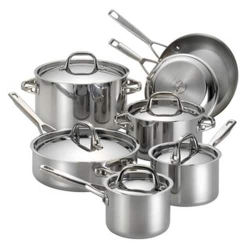 "Calphalon Tri-Ply Stainless Steel 13-piece Cookware Set  + Bonus  Signature 12"" Everyday Pan and 7pc Utensil Set  - $203 + tax"