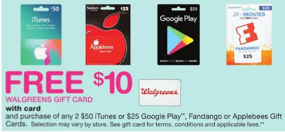 free 10 walgreens card with purchase of two 50 itunes 25 google