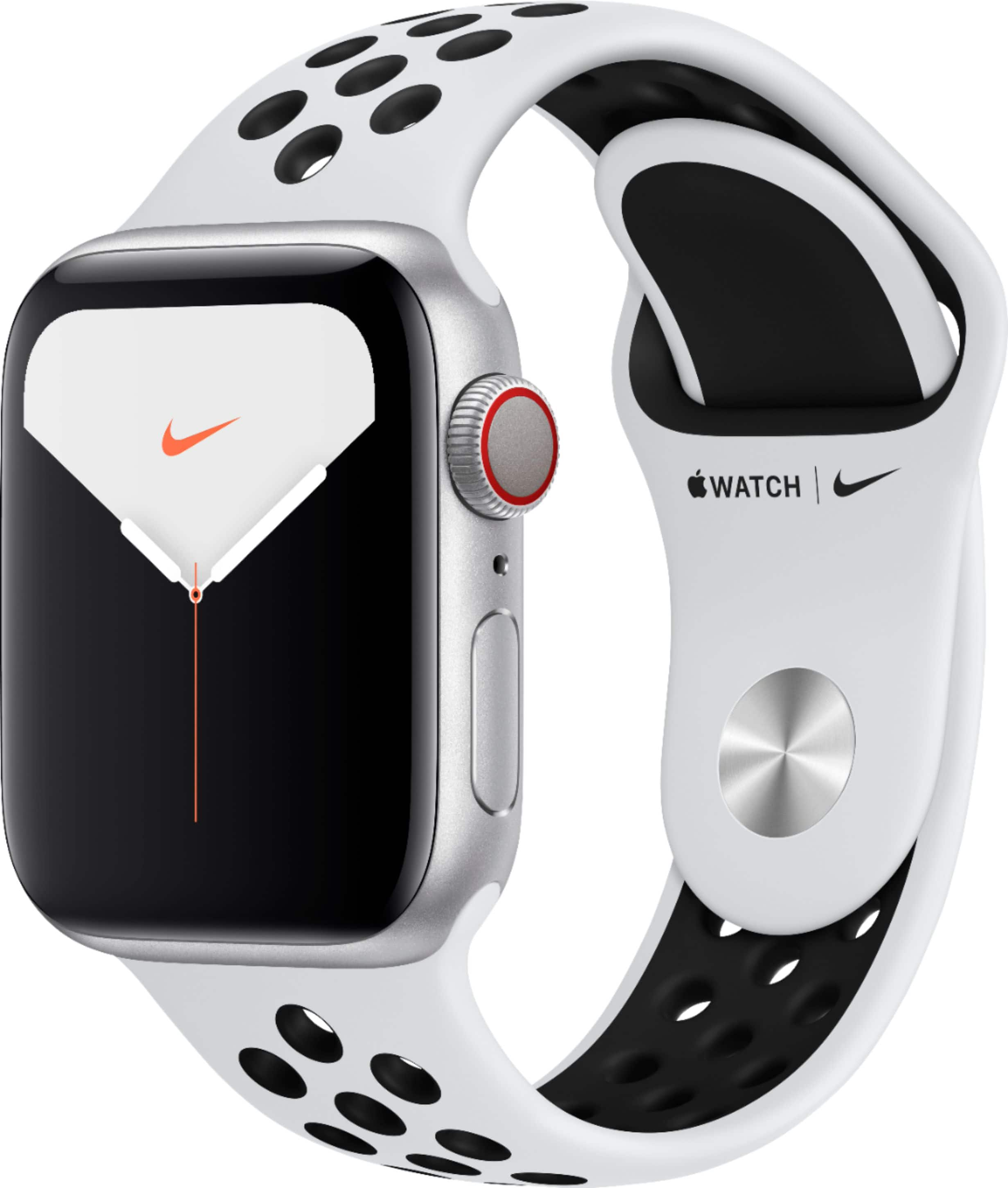 Apple Watch Nike Series 5 (GPS + Cellular) 40mm Silver Aluminum Case with Pure Platinum/Black Nike Sport Band Silver Aluminum MX372LL/A - Best Buy $319.99