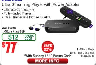Roku Ultra 4K UHD Streaming Player (2017 Model) for $77  + Free Shipping