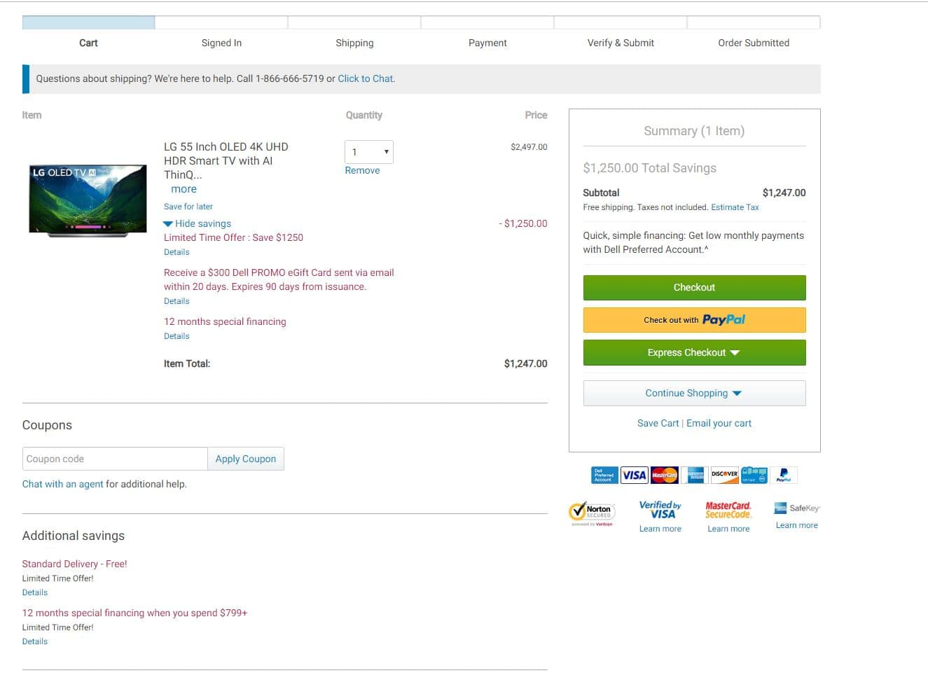 LG 55 Inch OLED 4k UHD - OLED55C8AUA - $1247 - $300 Dell GC = $947 -$75 Dell Rewards = $872