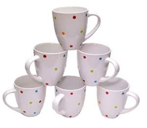Large Ceramic Coffee Mugs, 16-Ounce, White Polka Dots, Set of 6 $12.99 FSSS