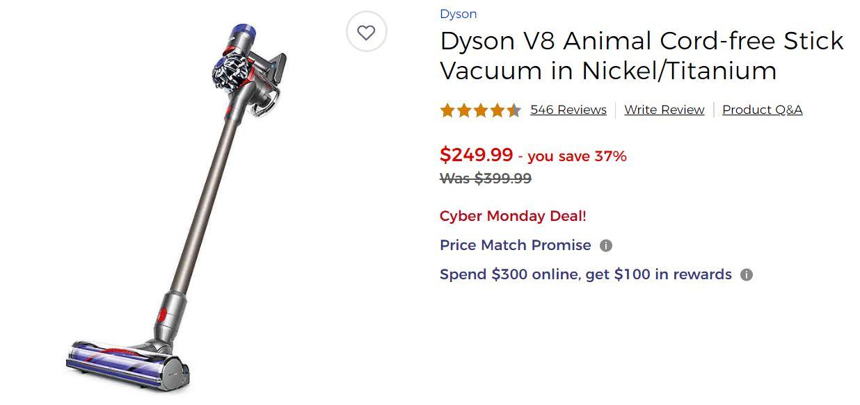 Dyson V8 Animal Cord-free Stick Vacuum in Nickel/Titanium ($199) $169