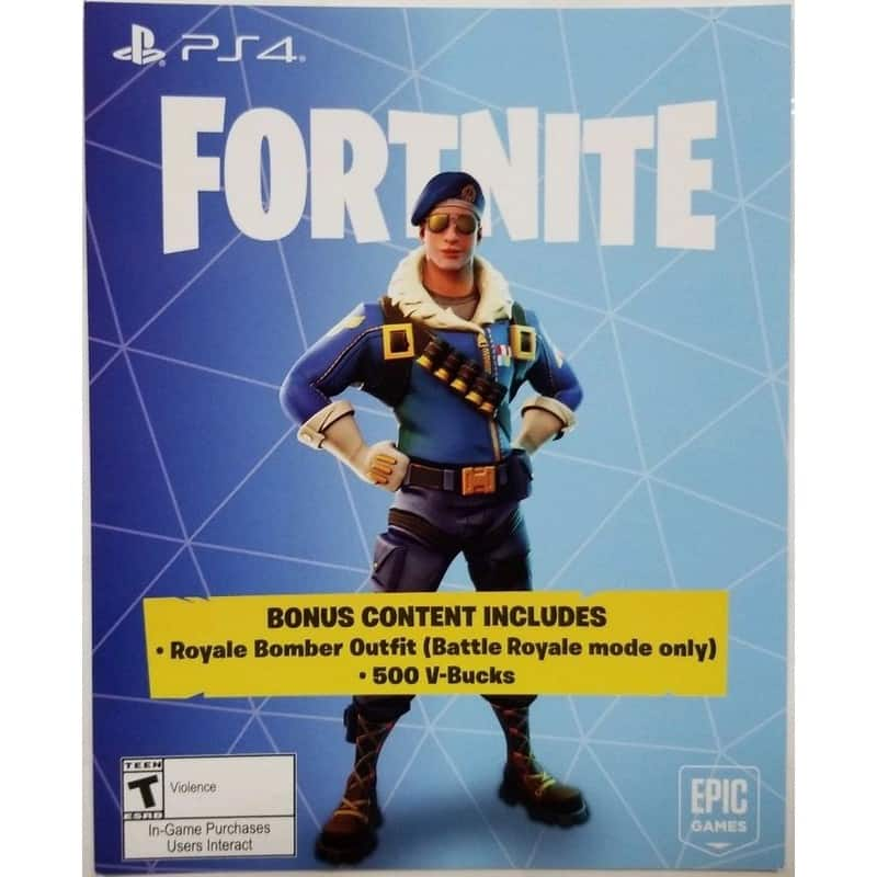 Fortnite Royale Bomber Skin plus 500 V-BUCKS PS4 Digital Code