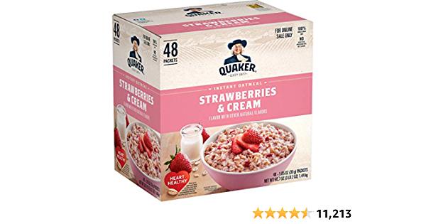 Amazon Prime S&S: Quaker Instant Oatmeal Strawberries & Cream 48 pack $3.84 w/15% s&s ($4.85 w/5% s&s)