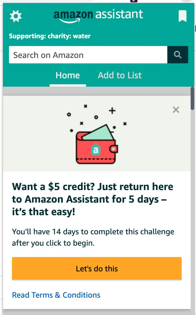 Earn $5 with Amazon Assistant - YMMV